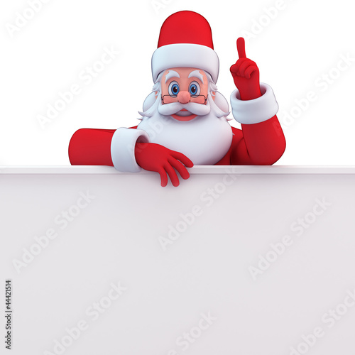 3d art illustrtion of santa with white sign