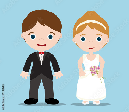 bride and groom with blue background