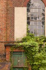 Eine alte verfallene Fabrik wird von Pflanzen überwuchert