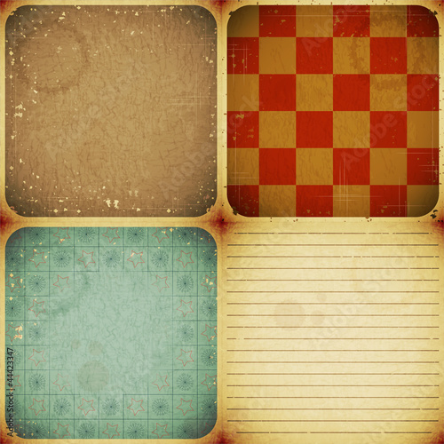 set of four vintage backgrounds
