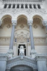 Entrance to the basilica of Notre-Dame de Fourviere, Lyon, Franc