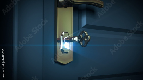 Key unlocking lock and door opening to a bright light