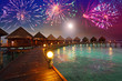 Festive New Year's fireworks over the tropical island
