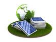 gestapelte Solarpanele mit Globus und Gras