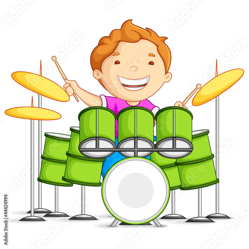 vector illustration of small boy playing drums
