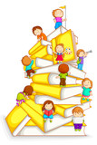 Fototapety vector illustration of kids climbing in stack of book