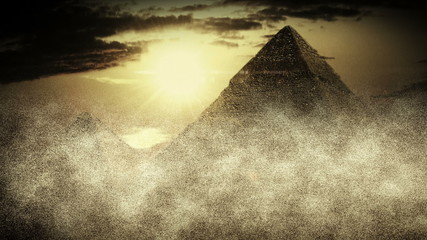 Realistic Egyptian Pyramids in sandstorm