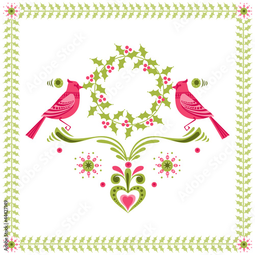 Christmas Card - Birds with Christmas Wreath - for invitation