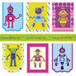 Set of Tags - Cute little Robots - for your design or scrapbook