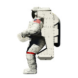 spacewalking astronaut - 3d illustration side view on white