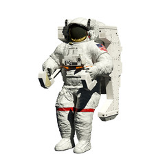 spacewalking astronaut - 3d illustration perspective on white