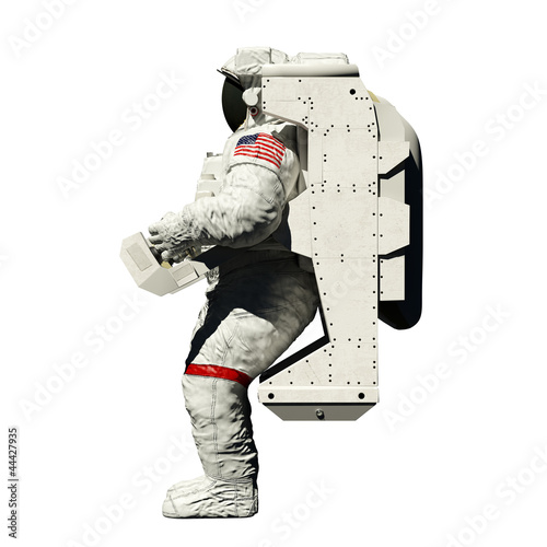 spacewalking astronaut - 3d illustration side view on white - 44427935