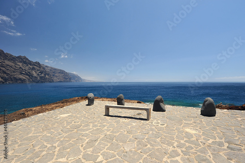 Bench and four stones on cape Tene, Tenerife