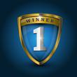 vector no 1 winner golden label - shield