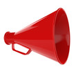 3D Bullhorn... Retro megaphone in a red color