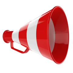 3D Bullhorn... Retro megaphone in a red and white colors