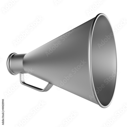 3D Bullhorn... Retro megaphone in a aluminium color isolated