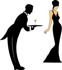 waiter serving lady in gown a martini