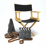 illustration of director's chair with clap board and megaphone