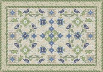 Vintage Style Floral and Leafy Carpet Design