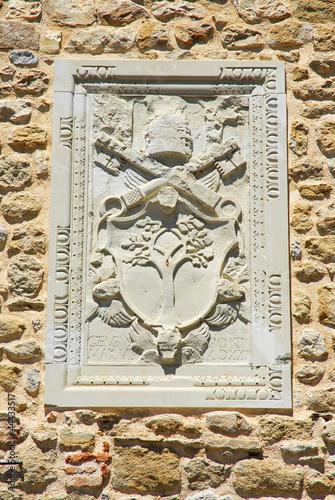 Romagna Apennines, San-Leo village Pope Symbol