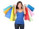 Shopper woman holding shopping bags - 44433917