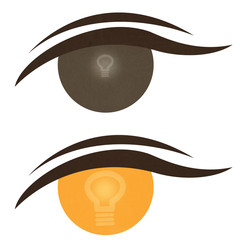 Bulb light icon on expression of eye