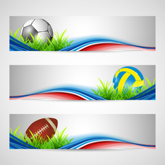 Sports website headers or banners. EPS 10.