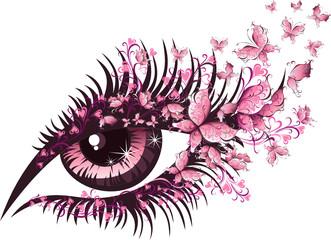 Beautiful female eye with butterflies