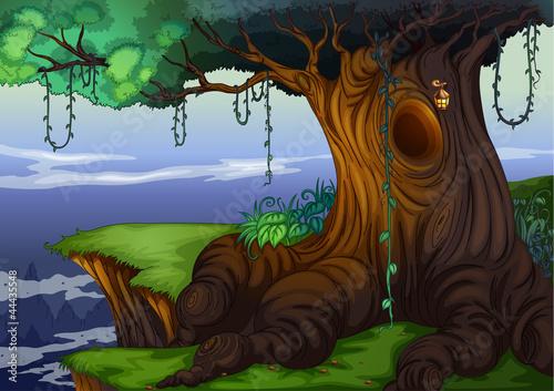 树洞简笔画彩色