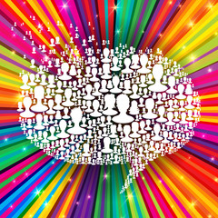 Speech bubble  on colorful rays background