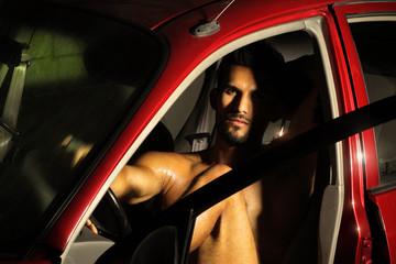 Hunk in car