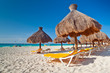 Holidays under parasol on Caribbean beach