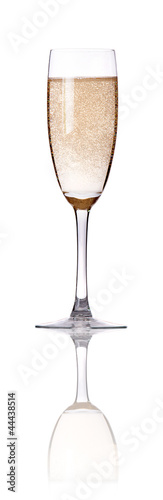glass of champagne flutes isolated