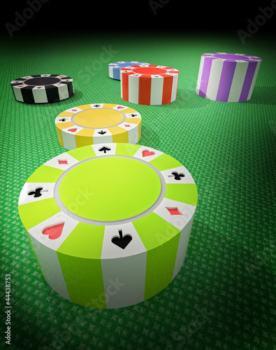 six separate columns poker chips on table