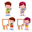 illustration of Kids with education object