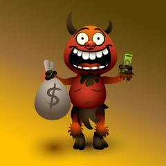 Fanny red devil with money.(2)