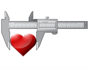 Conception heart symbol and measuring tool. Vector  image