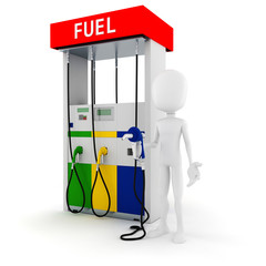 3d man holding a fuel pump, on white background