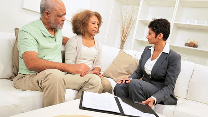 Aged African American Couple Home Financial Meeting