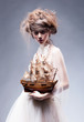 Creative art. Sophisticated woman in white vintage dress