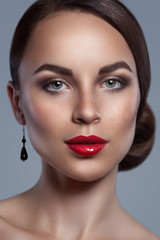 Portrait of beautiful woman with red sexy lips isolated