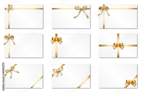 Set of labels with golden ribbons