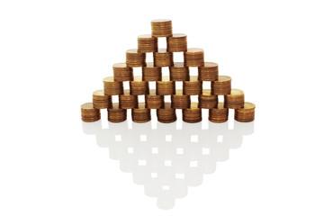 Money pyramid on a white background