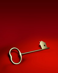Golden key on red cloth
