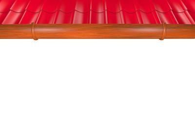 Dachziegel mit Dachrinne - 3D