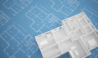 Grundriss Erdgeschoss auf Blaupapier angeschnitten