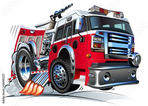 Foto op Canvas Cartoon cars Vector cartoon fire truck