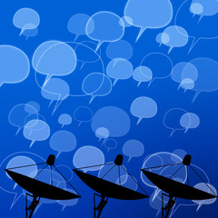 Satellite dish with comment icon on abstract background