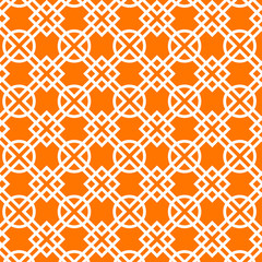 Geometric abstract seamless pattern in orange, vector